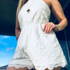 NWT White floral Scalloped romper one piece